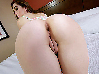 Teen babe Kasey receives a shot of massive cum load all over her booty