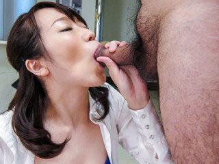 Office sex along lusty Japanese angel Hitomi Oki
