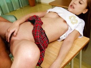 Wonderful schoolgirl Yura Kasumi has sweet time with her mature teacher